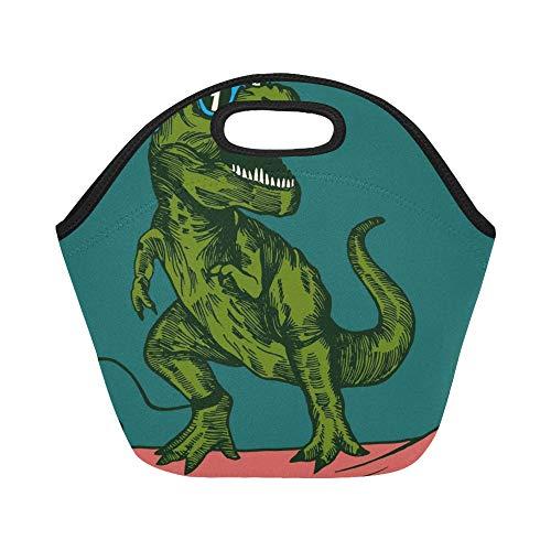 Isolierte Neopren-Lunch-Tasche Happy Dinosaur Surfer mit Sonnenbrille Zeichnung Große, wiederverwendbare, dicke Thermotaschen für das Mittagessen Für Draußen, Arbeiten, Büro, Schule