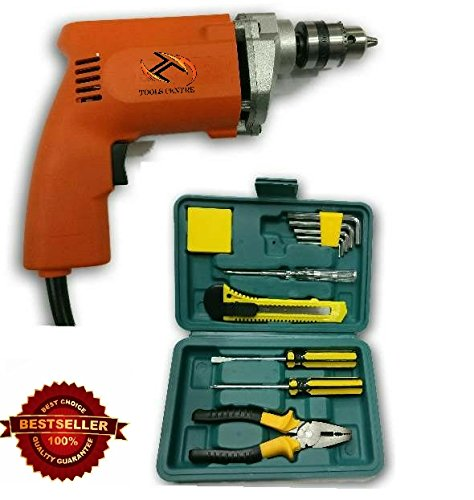 Tools Centre All In 1 Toolkit/Toolset with 10mm Drill Machine & 11pcs Toolkit Professional & Home Purposes Maintenence Universal Toolkit