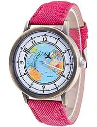 weant mujeres relojes correa de Cowboy Viajero Mini mapa del mundo azul mundo esfera Lady reloj para mujer analógico de cuarzo reloj de pulsera en la venta