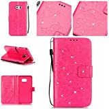 Coque Etui pour Galaxy S6 Edge Plus,Galaxy S6 Edge Plus Cuir Portefeuille Coque Housse,Galaxy S6 Edge Plus Wallet Case Cover Leather,Cozy Hut Etui de protection Case Cover PU cuir Portefeuille pour Galaxy S6 Edge Plus,Papillon et Fleur incrusté Brillant Glitter Diamant Strass Flip Housse de protection Cas Cover Coquille Couverture avec Stand et les fentes de carte de crédit pour Samsung Galaxy S6 Edge Plus - Rose Rouge