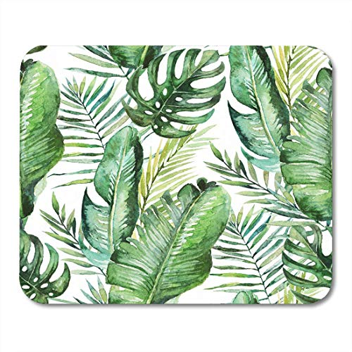 AOHOT Mauspads Colorful Tropic Green Tropical Palm Fern Leaves on Watercolor Hand Jungle Foliage Watercolour Mouse pad 9.5