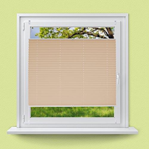 55 x 100 cm - Creme - Klemmfix - EasyFix - ohne Bohren - für Sonnen- und Sichtschutz - für Fenster und Tür - inkl. Befestigungsmaterial - Jalousie Faltrollo Fensterrollo Rollo ()