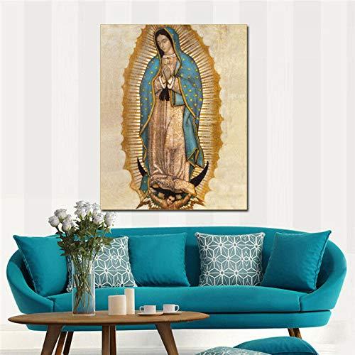 MhY Virgen de Guadalupe HD Imprimir en Lienzo Enorme Cuadro de Pared 40cm x60cm Sin Marco