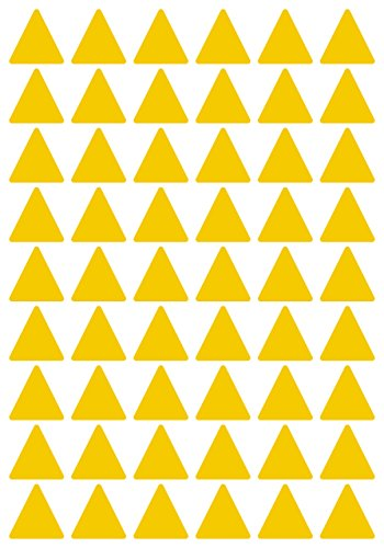 108 Aufkleber, Dreieck, Sticker, 30 mm, gelb, PVC, Folie, Vinyl, glänzend, Klebemarkierung, selbstklebend