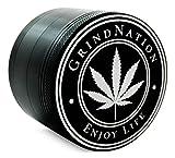 GRINDNATION Premium Grinder Crusher aus hochwertigem Aluminium in Matt Schwarz, Ø 63mm groß