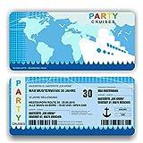 Einladungskarte Geburtstag Schiff Kreuzfahrt Bordkarte Ticket mit Perforation (40 Stück)
