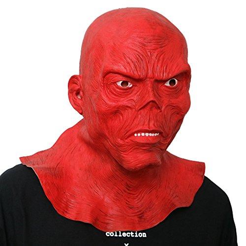 Red skull roter Totenkopf mask Maske aus sehr hochwertigen Latex Material mit Öffnungen an Augen Halloween Karneval Fasching Kostüm Verkleidung für Erwachsene Männer und Frauen Damen Herren gruselig Grusel Zombie (Skull Kostüme Red)