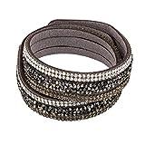 Armband Wrap Slake Kristall Straß Stein Glanz aus Leder grauen Wildleders
