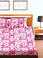 Fab Theory Summer Blush 144 TC Cotton Double Bedsheet with 2 Pillow Covers - Floral, Pink