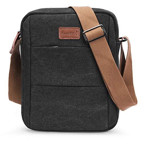CoolBELL Umhängetasche Brusttasche Studenten Messenger Bag Radfahren Schultertasche Sling Pack Rucksack Nylon Daypack passt 10,6 Zoll Tablet/iPad,Canvas Schwarz