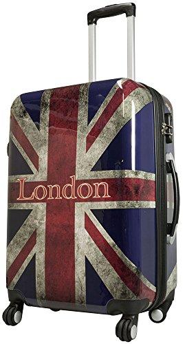Hartschalenkoffer Koffer XL Union Jack London England Flagge Packvolumen 94L Hartschale Reise Trolley + 20% Erweiterbar mit Dehnfalte - London England