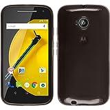 PhoneNatic Coque en Silicone pour Motorola Moto E 2015 2. Generation - transparent noir - Cover Cubierta + films de protection