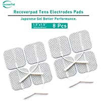 RecoverPad 8pcs 40x40mm Profesional TENS Electrodos,3rd Gel japonés Sin látex Electrodos(CE/FDA Aprobado),Mejor desempeño autoadherente para electroestimuladores TENS EMS