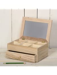 Artemio - Joyero (madera sin tratar, 25 x 17,5 x 11,5 cm, 6 compartimentos, 1 cajón, espejo en tapa)