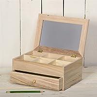 Artemio Joyero (madera sin tratar, 25 x 17,5 x 11,5 cm, 6 compartimentos, 1 cajón, espejo en tapa)