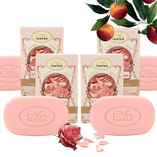 Un Air d'Antan 4er Set (1 Seife GRATIS) - Stückseife mit Bio Ölen Rose - Exclusiv Parfum: Rose, Pfirsich und Patschuli - Für Sie oder als Geschenke - Geburtstag - Angebote 4er Pack (4x100g Seife) (Pfirsich-öl Bio)