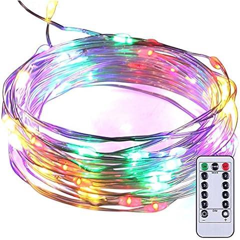 Fata Luci 8Modalità 50LED dimmerabile illuminazione Luce impermeabile 5M argento