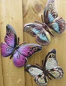 Garden Butterfly Set of Three Garden Butterfly Wall Art by Shudehill