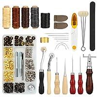 Fixm-Fixm Ledernähwerkzeuge, 28er Seti DIY Deri el aleti, bız, musluk iğne, mumlu iplik, yüksük ve ek aksesuarlar, halılar için mükemmel Handnähwerkzeug seti, Mäntel & çadır.