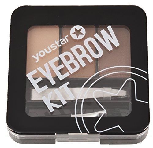 Eyebrow Kit youstar, Augenbrauenset, 3 Brauenpuder, 1 Pinzette, 1 Applikator