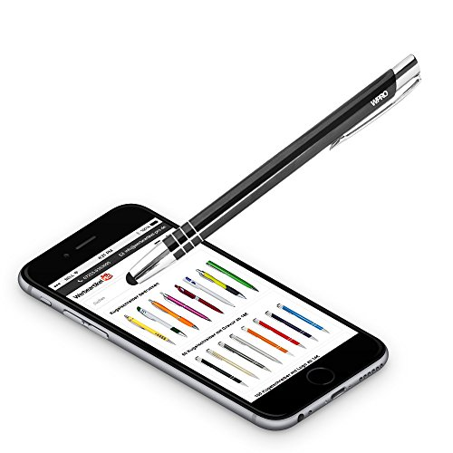Image of Wpro Toccara Ballpoint Pen & Stylus 2-in-1 Pen, Set of 2, Smartphone and Tablet Slim 3D Touch Screen Stylus Pen Tip black