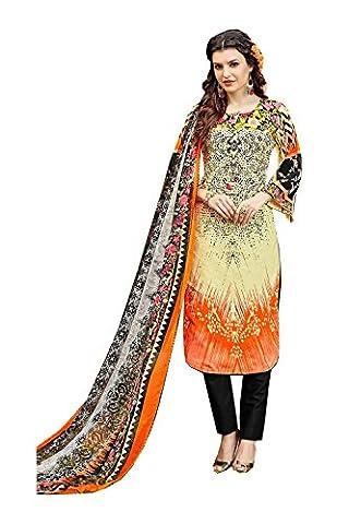 Da Facioun Indian Women Designer Party wear Light Yellow & Orange Anarkali Salwar Kameez R-16407
