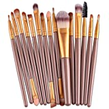 sunshineBoby 15 tlg. / sätze Make Up Pinsel Set Professionelle Kosmetik Make up Bürsten Pinsel Kit für Foundation Eyebrow Eyeliner,Make Up Pinsel Pinselset Make Up Pinsel Sets Make Up Buersten mit der PU Leder Kosmetiktasche (Gold)