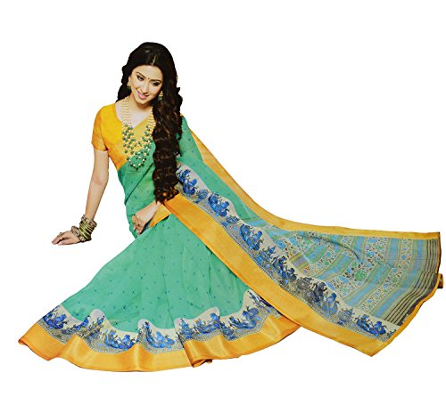 Apple Blossom Organza Silk Saree with blouse latest collection (Green)
