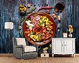 Formaggio Per Il Cibo Di Vino Formaggio Prosciutto D'Oliva 3D Carta Da Parati, Fast Food Negozio Ristorante Sala Da Pranzo Cucina Tv Decorazione Murales, 300 * 210 Cm