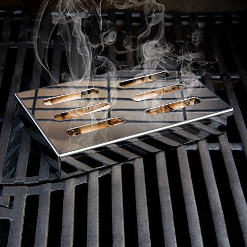 515XUtdXr L - Blumtal Smoker Räucherbox aus rostfreiem Edelstahl - Gas-Grillzubehör oder Holzkohlegrill, 20x13x3,5cm, Silber