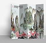 Fine Asianliving Paravent - Raumteiler – Sichtschutz - Trennwand –Faltbar - Spanische Wand – Leinwand - Artprint – Canvas – Doppelseitig – Bedruckte Leinwand - 4 Fach (180 x 160 cm) - 137