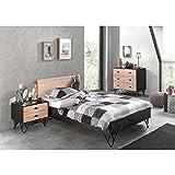 Lomadox Jugendzimmer Set massiv schwarz, Birke massiv lackiert, 120x200 cm Jugendbett mit Nachttisch und Schubkasten-Kommode