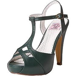 -23 Bettie abierta Sandalia de la plataforma con la T-correa y cortados detalles verde - Rockabilly vintage - Pin Up Couture