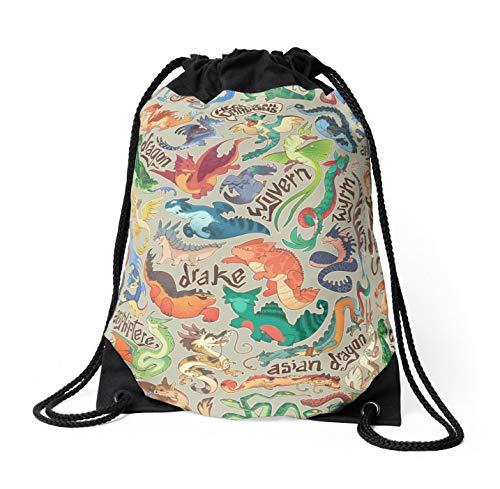ELQSMTIR Mini Dragon Compendium - Bolso Bandolera con cordón, Mochila, Mochila, Mochila, Escuela, Gimnasio, Bolsa de Deporte