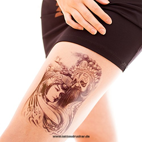 Geisha Bath (1 Geist Geisha Tattoo - großes schwarzes einmal Tattoo - Arm Bein Fake Totenkopf Tattoo (1))