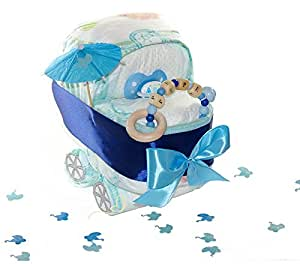 kleine windeltorte kinderwagen pepe blau aus original pampers windeln geschenk zur geburt. Black Bedroom Furniture Sets. Home Design Ideas