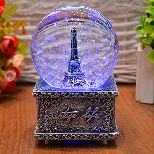 Comfot 80 mm Snow Globe Ball Music Box, Gold Sliver Eiffel Tower Light und Singing Ferris Wheel Musicbox Bedroom Desktop Decoration Christmas Valentine es Day Birthday Girl Gift,Silver (Snow Globes Christmas)