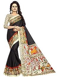 JENCY FASHION Kalamkari Silk Saree With Blouse (BLACK)