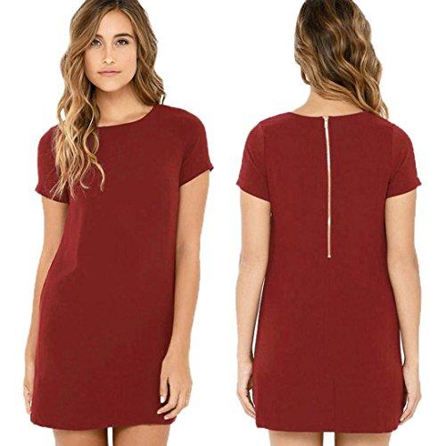 Rcool Frauen Damen Kurzarm Samtkleid täglich Party Abendkleid Rot
