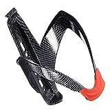 kompassswc fuerte fibra de carbono bicicleta portabotellas–Soporte para botellas para bicicletas Soporte Soporte para botellas de deportes, negro+rojo