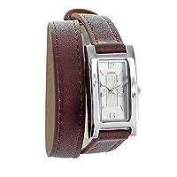Jouailla–Reloj Lutetia Cubierta Metal Rectángulo y pulsera marrón piel de becerro doble Tour (750112C) de Jouailla