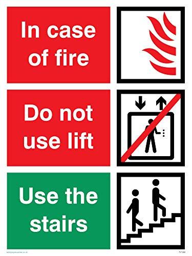 Nicht Verwenden, Lift (Viking Schilder fv1350-a3p-3min Case of Fire; nicht verwenden Lift, benutzen Sie die Treppen Zeichen, Kunststoff, 3mm starr, 400mm H x 300mm W)