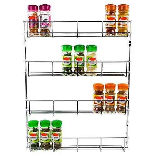 Andrew James - Gewürzregal - 4 Etagen - Zur Befestigung an Wand oder Küchenschrank - 2 Jahre Garantie