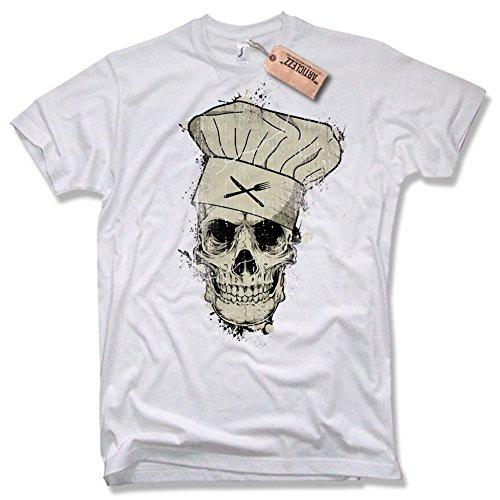 COOK SKULL T-Shirt, Totenkopf Koch Griller Vintage, verschiedene Farben, Gr. S - XXL weiß / white