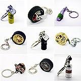 Luxus Schlüsselanhänger aus Metall - Felge Speiche Rad Bremse Luftfilter - Anhänger Schlüsselring Etui Chromfelge Schlüssel (Felge Stern goldfarbig ohne Reifen)