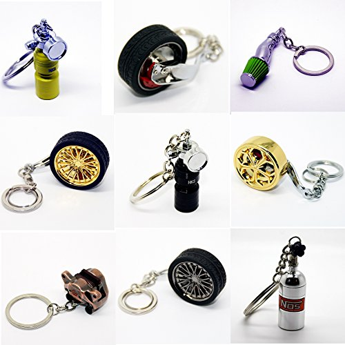 Luxus Schlüsselanhänger aus Metall - Felge Speiche Rad Bremse Luftfilter - Anhänger Schlüsselring Etui Chromfelge Schlüssel (Felge Chrom ohne Reifen)