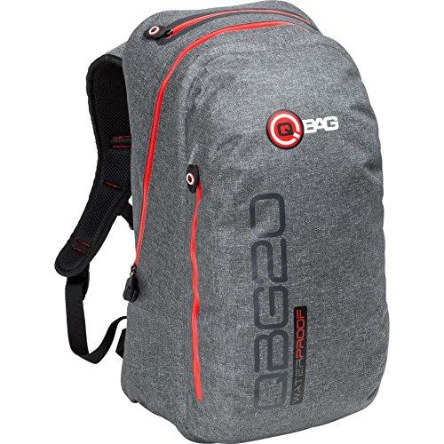 QBag Motorradrucksack Rucksack 12, wasserdicht, ergonomisch geformt, gepolsterte Rückenseiten, seitlich von außen zugängliches Deckelfach, Grau, 20 Liter