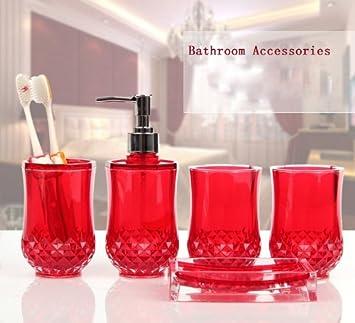PC Set Acrylic Bathroom Accessories Bathroom Set Glamarous Black - Red bathroom accessories sets