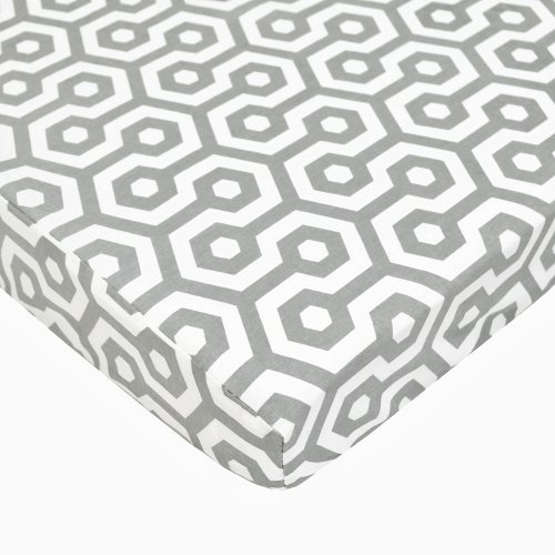American Baby Company 100% Cotton Percale Fitted Portable/Mini Crib Sheet, Gray Honeycomb by American Baby Company