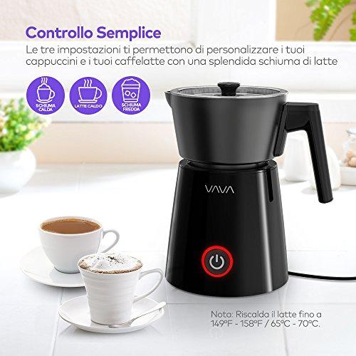 Montalatte Elettrico VAVA VA-EE009 Schiumatore Scalda Liquidi con Funzione per Latte Caldo o Freddo in Acciaio Inox, Controllo Temperatura Strix Antiaderente Indicatori Livelli Latte - 3
